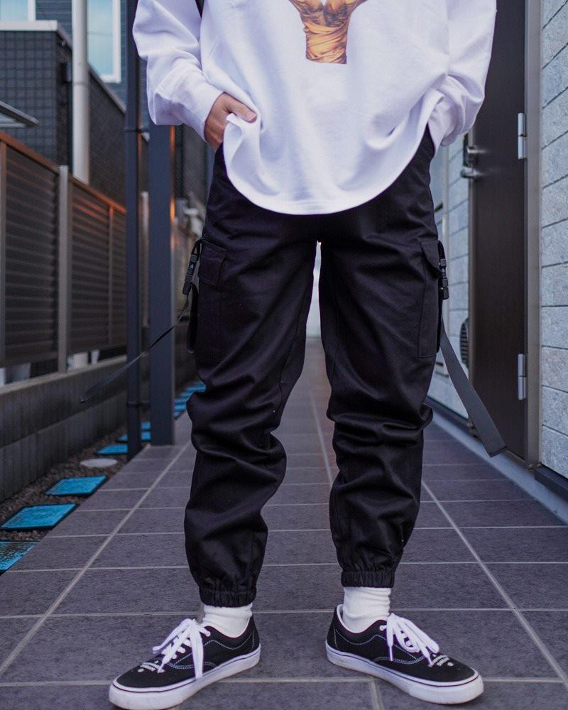 サイドベルトブラックカーゴジョガーパンツ(小さいサイズ)の画像4
